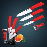 Red Color 5pcs Gift Set Of Ceramic Kitchen Knife Knife Set In Acrylic Holder Hot Sales