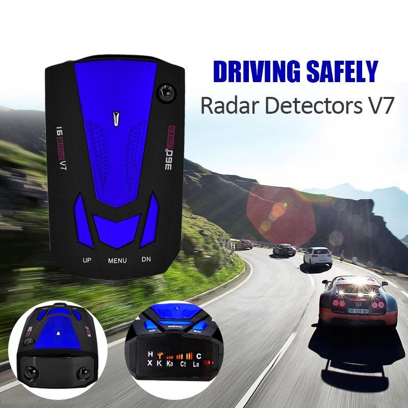 V7 Car Radar Detector 360 Degree 16 Band Scanning Auto Detectors English Russian Voice Alert Warning car styling speed radar
