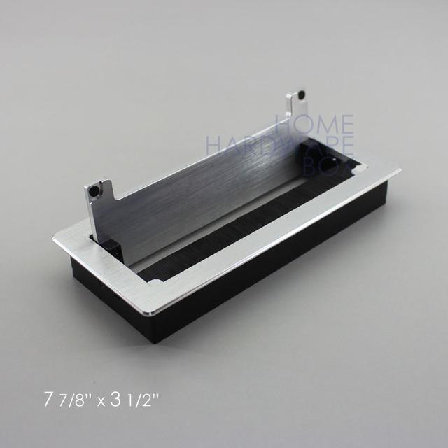 200x90mm aluminum desk wire access grommet satin rectangle table ...