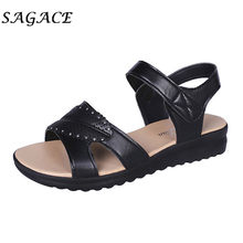 SAGACE Shoes ladies Leather sandals wedge Elegant shoes beach sandals 2019 summer pumps women shoes low heels women casual shoes(China)