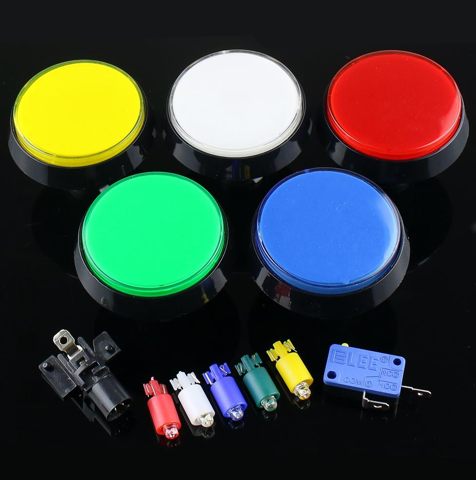 5 Colors LED Light Lamp DC12V <font><b>60MM</b></font> Big Round Arcade Video Game Player Push <font><b>Button</b></font> Switch free ship image