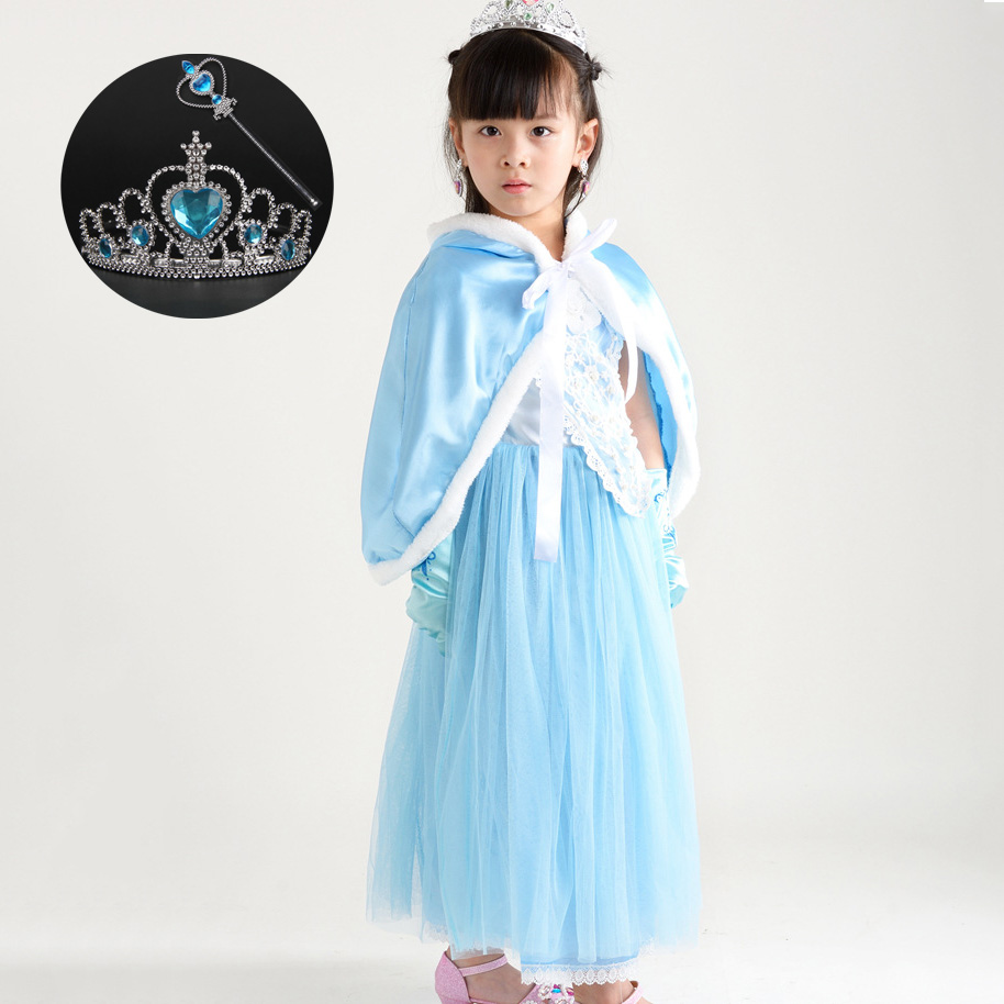 Children Anna Elsa Princess Birthday Dresses Cosplay Party Fancy Costume with Cape Christmas Dress Child Blue Red Clothes Kids