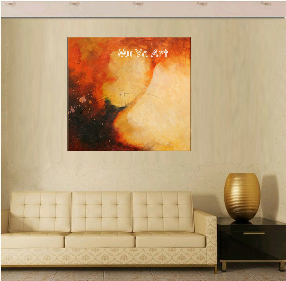 Large Abstract modern Orange handpainted canvas wall art big oil ...