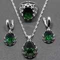 2015 Fashion 925 Sterling Silver Jewelry Set Green Zircon Earrings / Pendant / Necklace / Ring For Women Free Gift Box TZ111