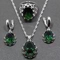2015 Fashion 925 Sterling Silver Jewelry Set Green Zircon Earrings / Pendant / Necklace / Ring For Women Free Gift Box TZ111