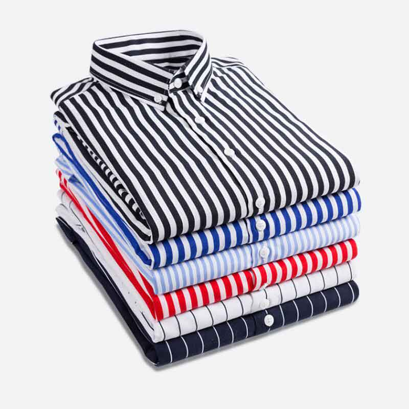 Fashion New 2019 Men Long Sleeve Shirts Male Striped Classic-fit Comfort Soft Casual Button-Down Shirt Casual Male Shirt Tops 5X
