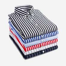 Fashion New 2019 Men Long Sleeve Shirts Male Striped Classic-fit Comfort Soft Ca
