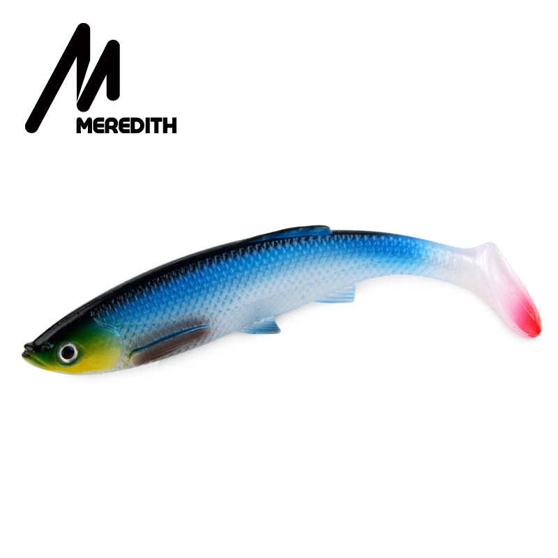 "MEREDITH 4.73"" Bleak Paddle Tail 14.5g 4pcs 120mm Fishing Soft Lures 3D Eyes T Tail Artificial Bait Plastic Pike Fishing Lures"