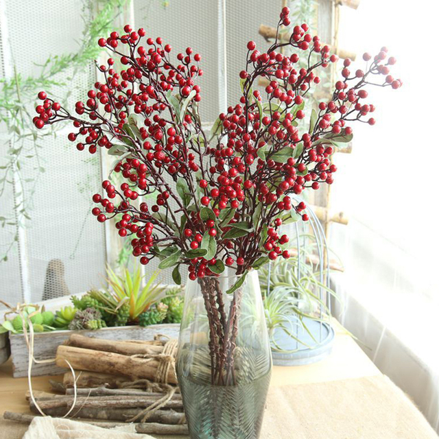 Artificial Flowers For Decoration Red Bird Berry Spray Stem Of Faux Berries Autumn/Christmas Fake Flowers Fall Decoration Home