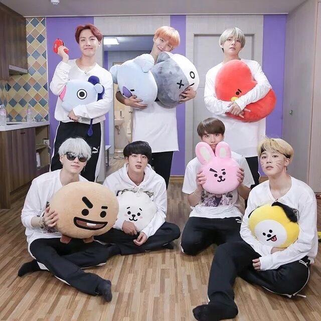 Kpop Bangtan Boys BTS BT21 vapp Kissen Kissen Spielzeug Bolster Q zurück Plüsch Puppe TATA VAN COOKY CHIMMY SHOOKY KOYA RJ MANG Für Kinder
