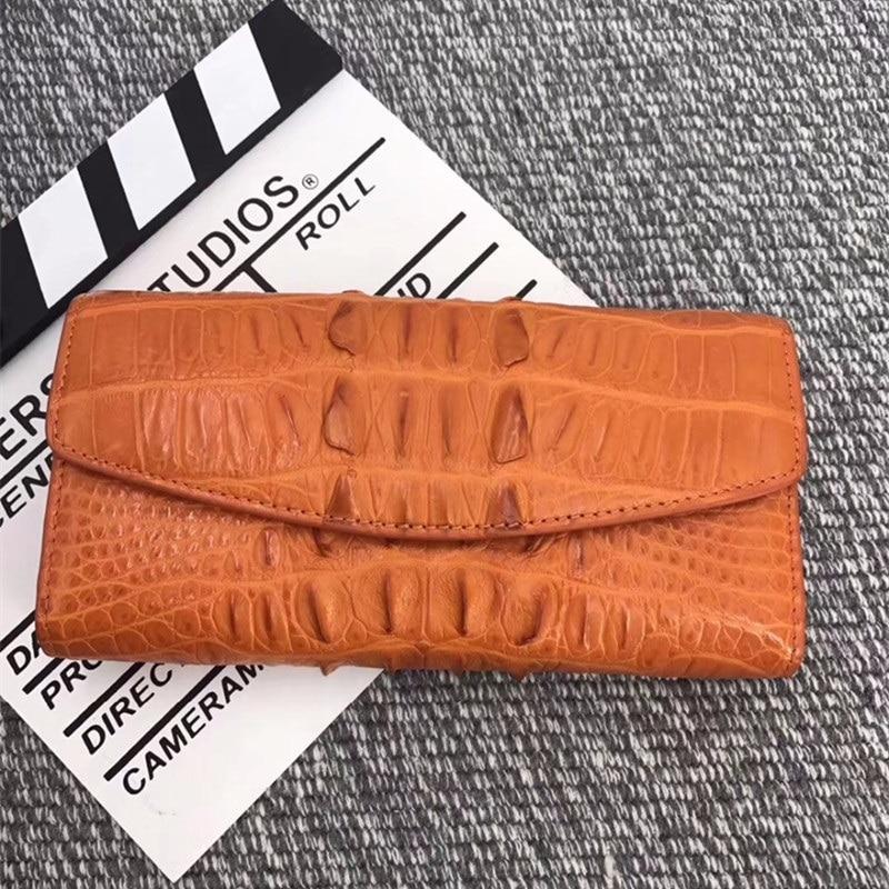 Kapazität Kupplung Echtes Lange Halter Dame Frauen purpurrot Geldbörse Brieftasche Schwarzes Leder Krokodil Karte Alligator grün Weibliche weiß rot Große rosa Exotische Echt Haut orange ZwqOOx
