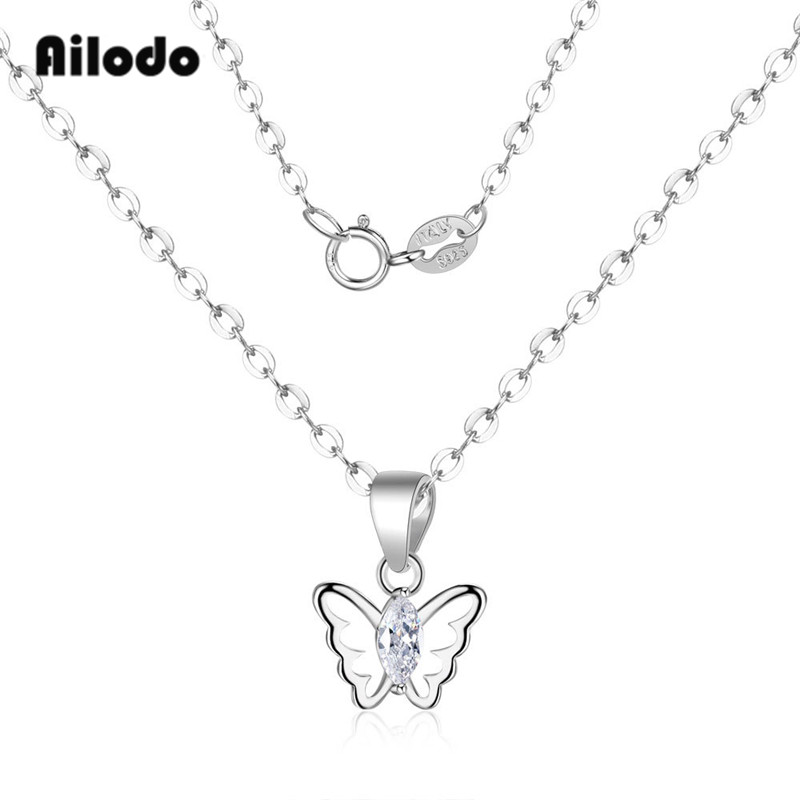 Ailodo Real 925 Sterling Silver Zircon Butterfly Pendant Necklace For Women Fashion Party Wedding Statement Gift LD160