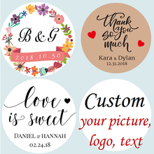 100pcs/lot Customized Personalized Wedding Stickers, Logos, Photo, Favor Boxes Tags, Cupcake, Bottle Labels, Invitations Seals