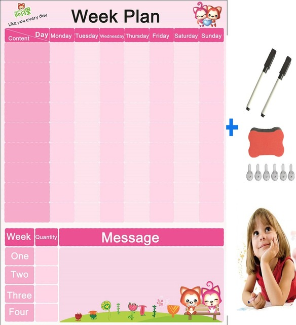 40x60cm cute cartoon children daily planner wall sticker 2 pens 1