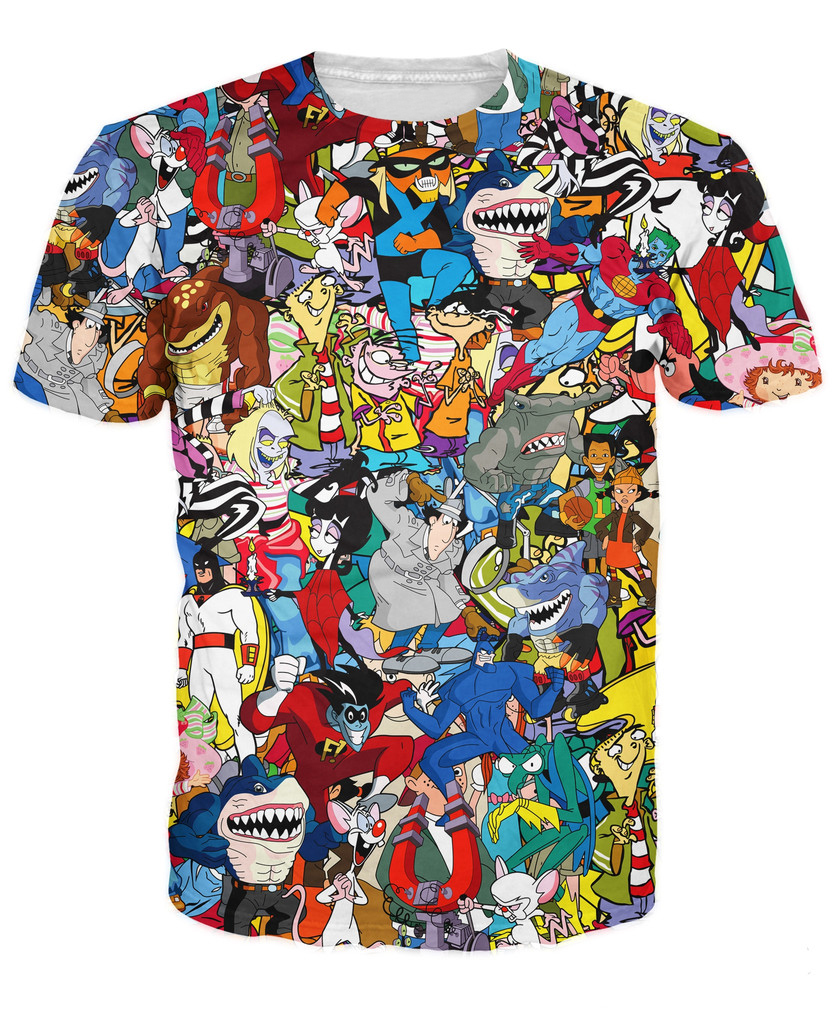 Cartoon Characters Shirts : Extreme s collage t shirt pinky the brain space ghost