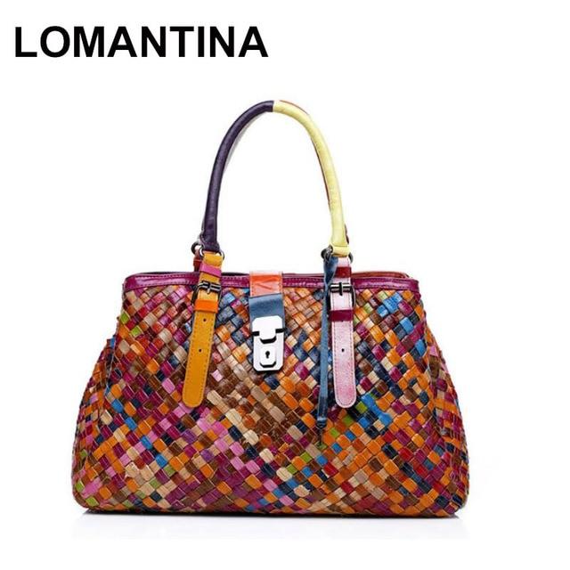 Lomantina 2018 New Fashion Multicolour Genuine Leather Bags Weave Handbags Women S Shoulder Bag Colorful Handbag Female