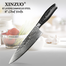 XINZUO 8 inches Pro Chef Knife China 67 Layers High Carbon Damascus Stainless Steel Kitchen Cleaver Knives Pakka Wood Handle