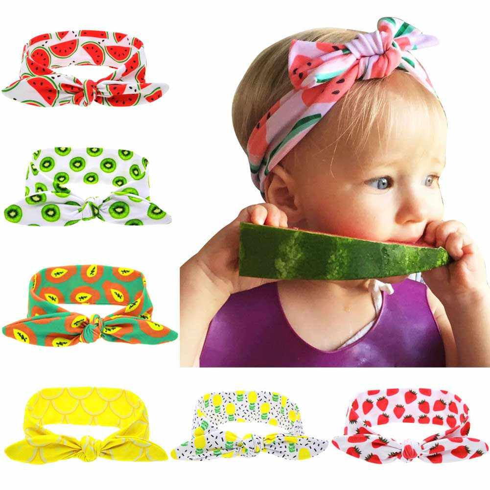 Kids Summer Fruit Print Headband Lovely Girl Cotton Elastic Hairband Headwrap Rabbit ears Hair Band Accessories