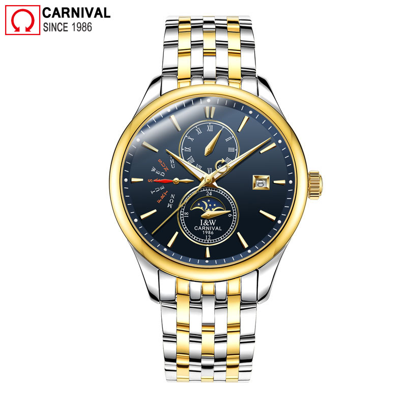 Carnival IW Mens Mechanical Watches Top Brand Luxury Automatic Watch Men Stainless Steel Moon Pashe Calendar Clock Reloj Hombre tourbillon auto mechanical mens watches top brand luxury wrist watch automatic clock men stainless steel skeleton reloj hombre