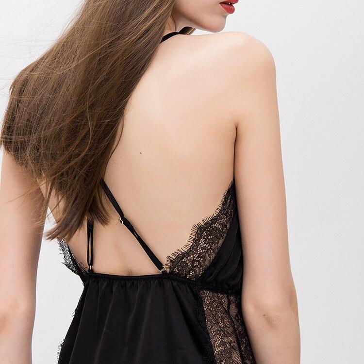 RenYvtil Fashion Summer Nightgown Women Sexy Deep V Lace Lingerie Female Camisole Mini Dress Slim Lounge Sleepshirt Sleepwear