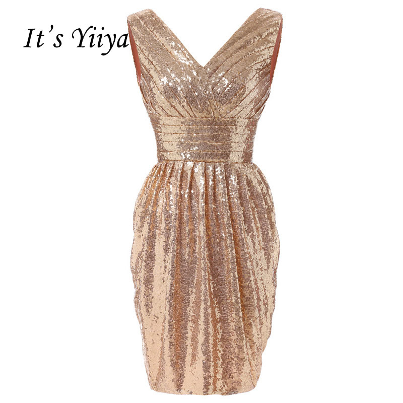 It's YiiYa Gold Pleat Flowers Sequined Bling Sleeveless Zipper Straight   Cocktail     Dress   Knee Length Formal   Dress   Party Gown 3102