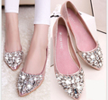 Primavera Brilho Cristal Rhinestion Apontou Mulheres Toe Sapatos Baixos Sólidos Mulheres de Couro PU Sapatos Deslizar Sobre Ballet Princesa Sapatos de verão