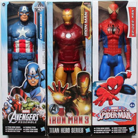12 30CM The Avengers 5 Captain America Wolverine Spiderman Marvel Iron Man Action Figures PVC Superhero