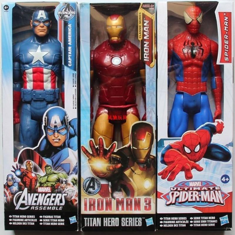 The Avengers 2 Capitán América Wolverine Spiderman Thor Marvel Iron Man 30 cm Figuras de PVC Superhéroe Flash de regalo de juguete para niños