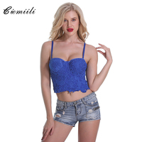 CIEMIILI 2017 Short Solid Floral Women Tops Blue Black Lace Embroidery Camis Sexy Runway Night Club