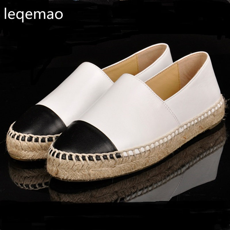 New Trend Luxury Brand Minimalist Women Genuine Leather Espadrilles Shoes Fashion Flats Casual Loafers Woman high quality 34-42 hot sale new brand fashion luxury men loafers comfortable black flats casual shoes high quality nuduck genuine leather shoes