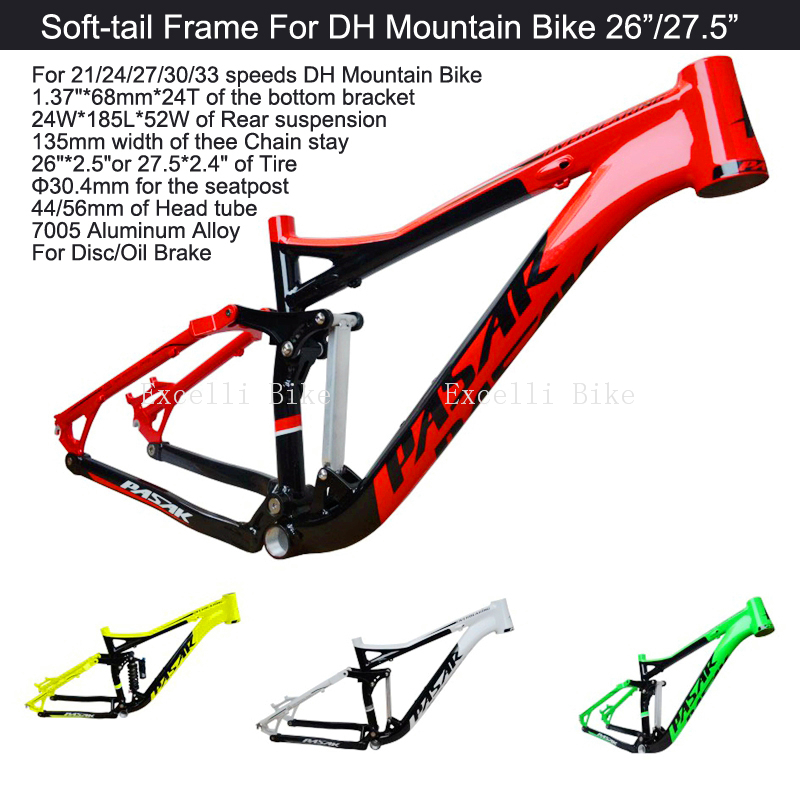 Excelli DH Bike Cycling Frame Soft tail Frame Full Suspension Downhill Mountain Bike26/27.5 Bicicleta Frame F Disc/Oil Brake 17
