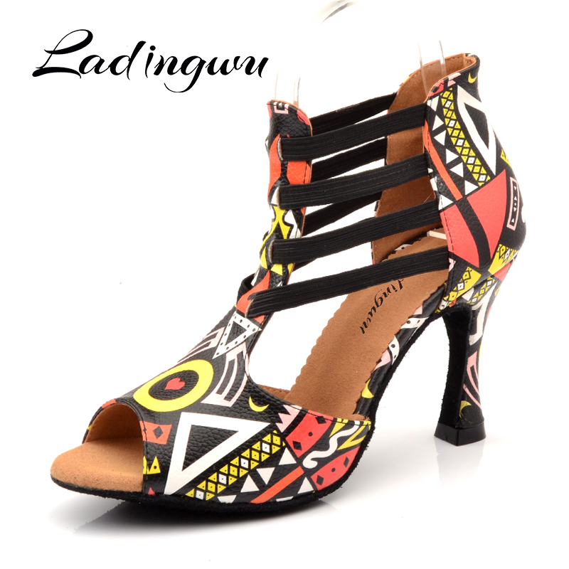 Ladingwu New Featured Printing Dancing Shoes For Women Spring And Summer Latin Salsa Dance Boots Paty Ballroom Dance Shoes Woman