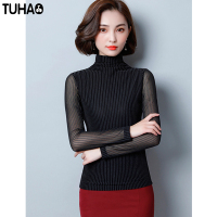 TUHAO Winter Turtleneck Women Blouses 2017 New Autumn Slim Office Lady Shirt Mesh Print Striped Female