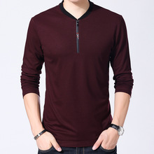 New Arrival High Quality 2018 Spring Men Business Casual Slim T Shirt Male Classic Long sleeve
