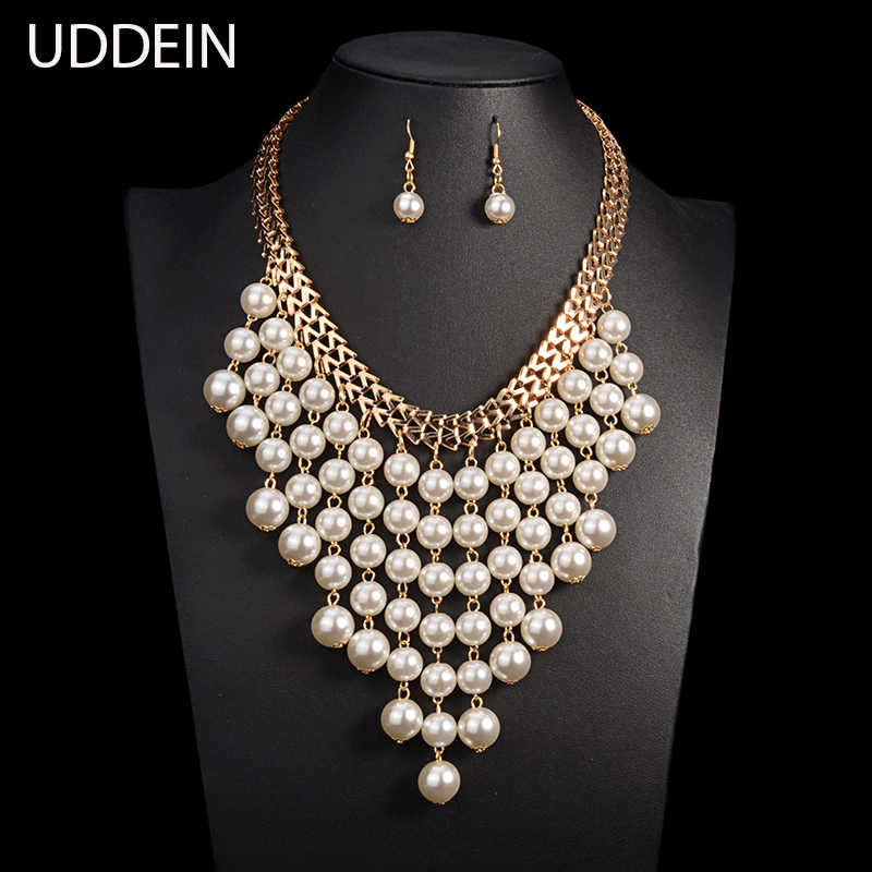 UDDEIN Multi layer tassel pendant simulated pearl jewelry sets wedding accessories fashion statement long necklace set vintage