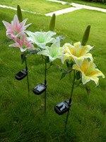 Wysoka jakość Kwiat lilii Jedwabiu Energii Słonecznej Ogród Stawka Krajobraz Lampy Ogrodowe na zewnątrz Krajobraz trawnik na zewnątrz Światła LED dekoracji