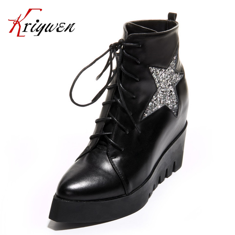 100% Cow leather 2015 short boots for women Height Increasing shoes fashion Glitter star lace-up genuine leather ankle boots