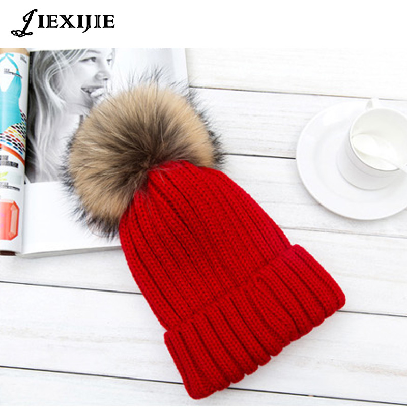 2016 NEW Winter Warm Hat Raccoon fur pattern wool hat thickening warm thread knitted hat hats for women Cap Skull skullies skullies new winter women casual removable raccoon hair 15cm wool hat fashion warm hedge cap knitted hat woman winter hat