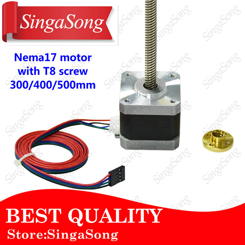 Nema17 17HS4401 motore passo a passo con T8 vite di piombo 8mm 300/400/500mm 42 motore 42 BYGH 3D Stampante motore con vite per 3d stampante.