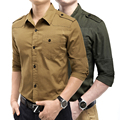 2017 solid men shirt long sleeve slim fit shirt cargo shirts male blouse fashion casual shirts homme khaki Army green xxxl