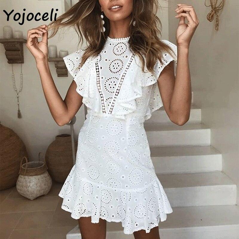Yojoceli 2018 chic crocht lace dress women hollow out boho beach ruffle dress autumn sexy mini short dress female vestidos белая рубашка с объемными рукавами и вырезом