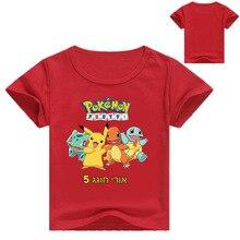 Летняя рубашка с покемонами для мальчиков; детская одежда; футболка для девочек; футболка с коротким рукавом; детская одежда; топы с рисунком для девочек