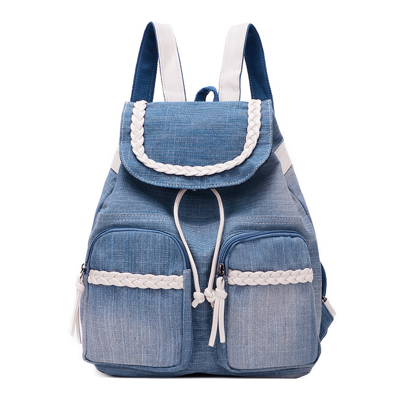 Denim Backpack New Preppy Style Women Fashion Backpacks Small Girl School Book Shoulder Bags for Teenager