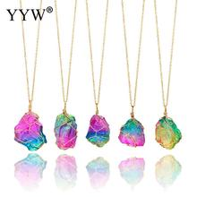 Mood Changing Stone Necklace Irregular Natural Crystal Chakra Rock Colorful Stone Quartz Pendant Necklace natural stone pendant necklace