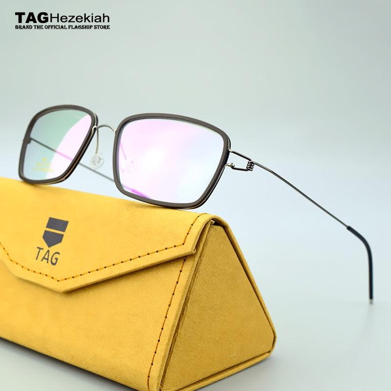 TAG Brand Titanium Glasses Frame Men Pure Hand-made Screwless Glasses Frame Prescription Myopia Oculos De Grau Flat Light Mirror