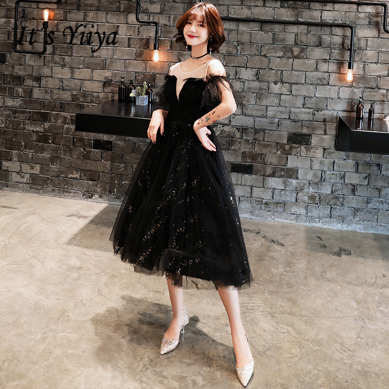 It's YiiYa   Cocktail     Dresses   Elegant Sequined Party Formal   Dress   Royal Lace up Illusion Little Black Knee Length Prom Gowns E319