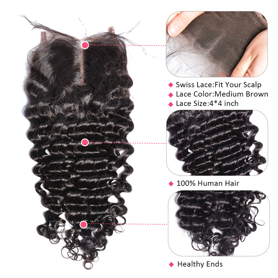 Deep Wave Bundles With Closure Peruvian Hair Weave 3/4 - Menneskelig hår (for svart) - Bilde 6