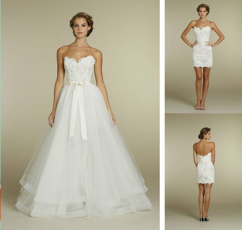 Convenient two in one wedding dresses lace sweetheart for Removable tulle skirt wedding dress
