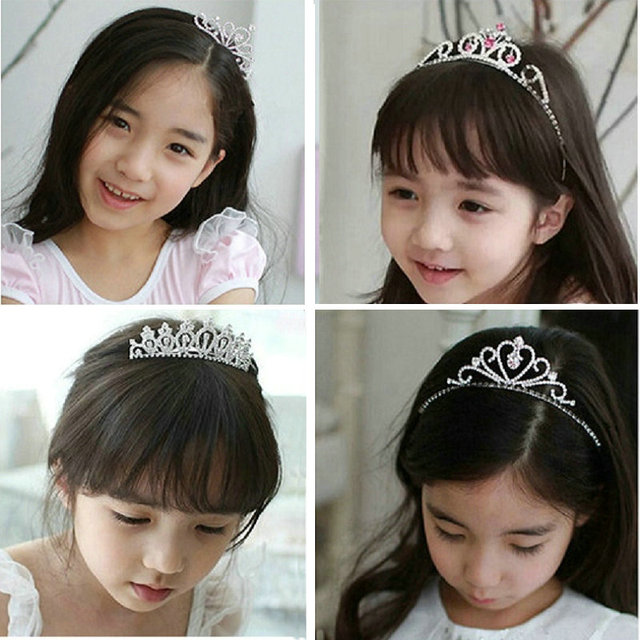 2016 New Cute Heart Princess Crown Tiara Rhinestone Corona Diadem Hairwear Hair