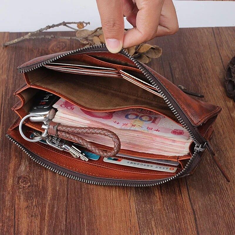 Sac Portefeuille Cuir Marron Bracelets Végétal Vintage Carte Bourse Pratique Hommes Tanné Grande Homme Mâle Téléphone Véritable Capacité Embrayage Designer w6vqSR